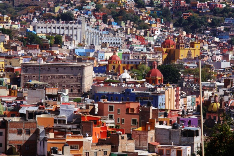 Overlooking Guanajuato with its colorful buildings.