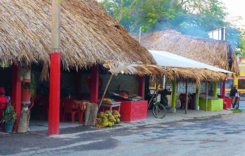 The main entrance into the village of San Blas was lined with these outdoor restaurants.  The clientele looked to be all locals…not a gringo in sight.