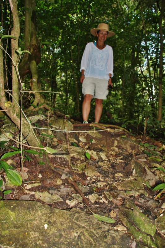 Nature takes back its own!  These rocks I'm standing on are really huge ruined buildings which have not been excavated.  There are thousands like this strewn throughout the jungles of the former Mayan empire.