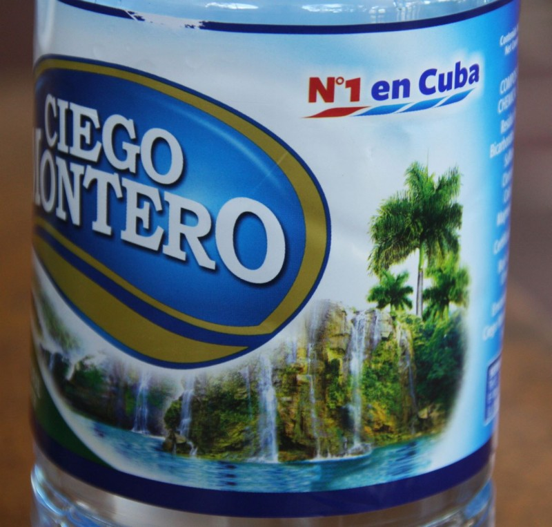 Ciego Montero bottled water, number 1 in Cuba.  That's because it's the only one in Cuba.  It was very minerally and tasted pretty bad.  But an option was not a choice.