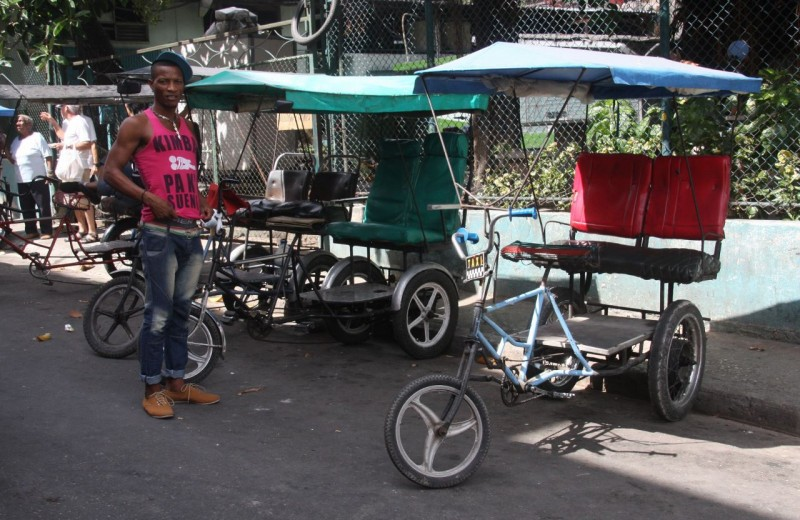 These human-powered taxis were another way to get around.