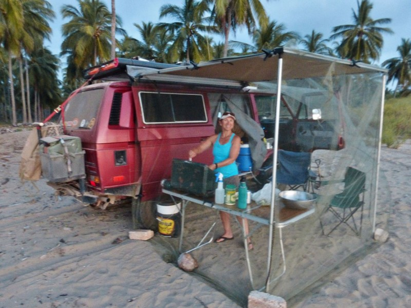 The mosquitoes were bad here, so we put up our awning with our homemade netting and cooked up an impromptu supper.