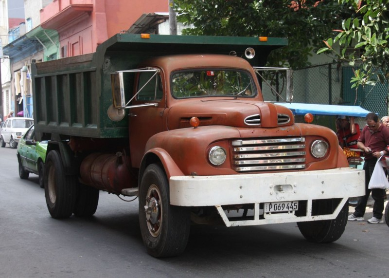 Not just old cars abound. Many great old trucks are running around too like this 1951 Ford. If you look closely you'll see it is actually a newer truck underneath, (probably Russian) with the Ford body widened to fit. Cubans are the Kings of Bondo.