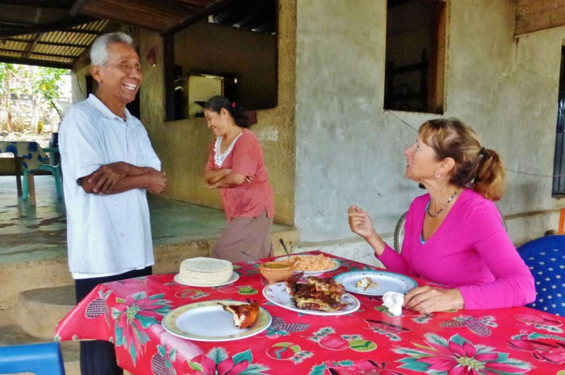 Antonino, Anita and their daughter Raquel, who was 7 months pregnant, were the perfects hosts.  We were treated warmly and graciously.  Antonino told us he was of Maztecan descent. We really enjoyed our breakfast of fresh roast chicken, tortillas, rice and a delicious salsa.  He laughed telling us the chicken was so fresh it was running around this morning!