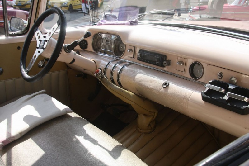 Most of the interiors have been upgraded as well with tuck and roll upholstery and modern steering columns. (No airbags here though!)  Note the truck four speed shifter sprouting through the floor of this Buick, a car that most certainly had an automatic originally.