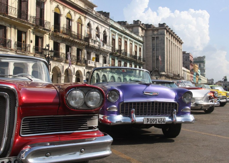 There was another parking area in front of the Capital building that only contained perfectly restored cars that seemed to be there for display. These convertibles, a '58 Edsel, '55 Chevy and a '59 Buick could have won awards at any car show in the States.