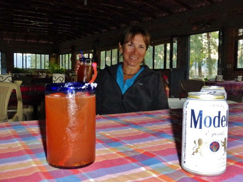 Ahhh…Micheladas…beer with chili pepper, Clamato and lime with a salted rim.