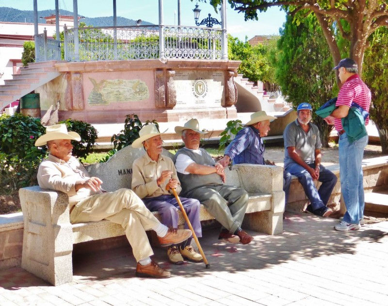 Local boys shooting the breeze in the central plaza of Mascota.