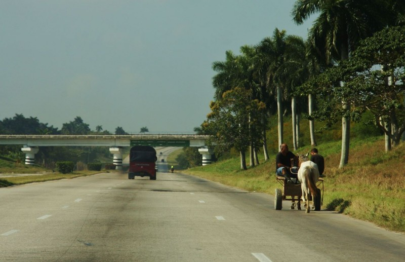Once out of the city the highway was good, but empty. Horse drawn carts shared the tarmac with the few trucks and cars.
