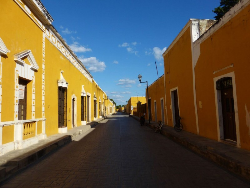 After Palenque we made a beeline for Cancun, mostly on the autopista. However, we veered off long enough to take in Izamal, the yellow city. Almost all of the buildings in the town were painted yellow. The effect was striking.