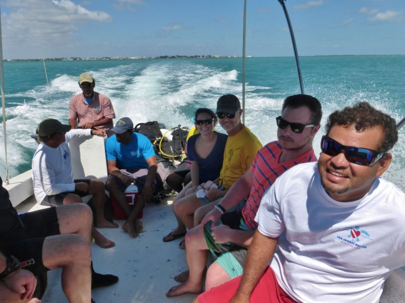 Off on our first dive trip to the barrier reef out of Belize City. Emily made two dives this day.