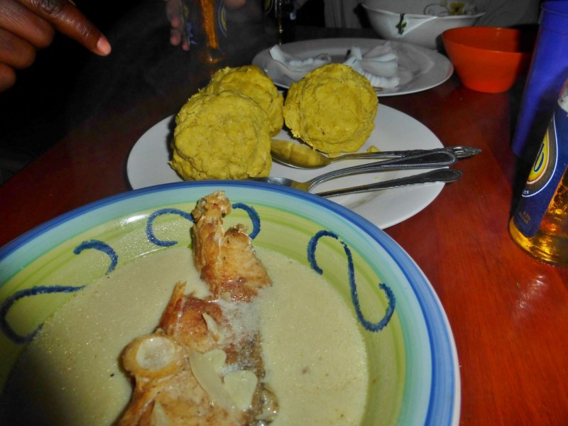 Kim made us Hudut, a traditional Garifuna culinary specialty. It is coconut broth fish stew served with a huge mashed plantain ball which you mix with the broth. Delicious.