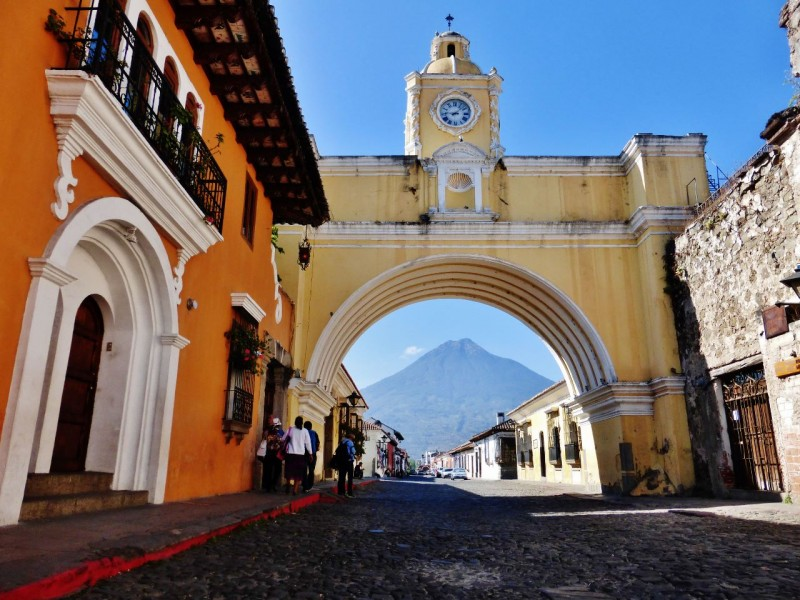Volcano framed by the Arch of the Convento de Santa Catalina.   This is the famous picture everyone takes when they come to Antigua, Guatemala, so Ned had to take one too.  The shot was featured on nearly every Guatemala map and tourist poster we saw.
