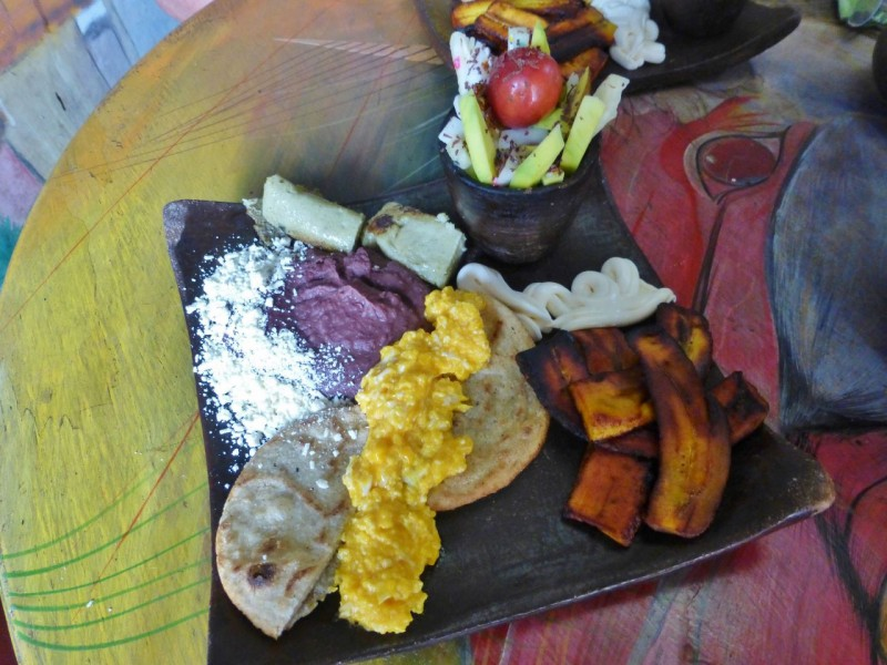Scrambled eggs, beans, fried plantains, homemade tortillas and fresh fruit. The presentation was almost too beautiful to dive into.