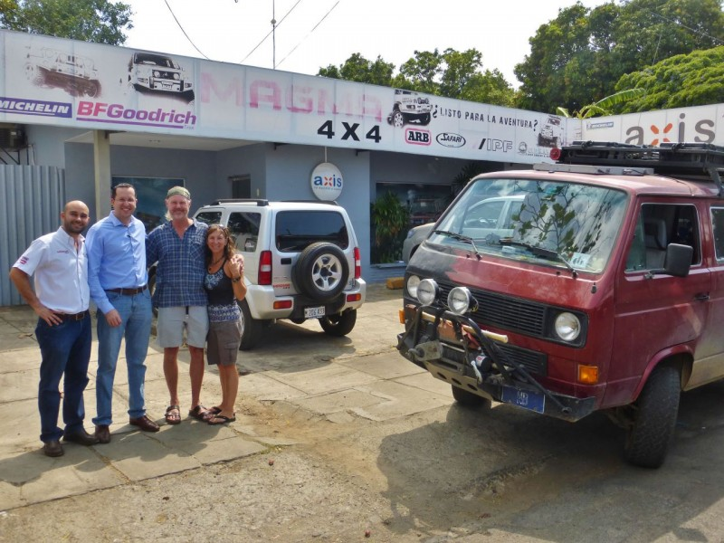 Our goal in Managua was to visit the guys at Magma 4X4. Rafael Huncal and Bernardo Ortega run the biggest 4X4 shop in Nicaragua and specialize in repairs and installations/sales of off road accessories and tires. They were great to take time out of there busy day to visit with us and give us some cool tips on things to do in their country,  Fortunately, Charlotte has been running like a top and needed no medical attention during our visit.
