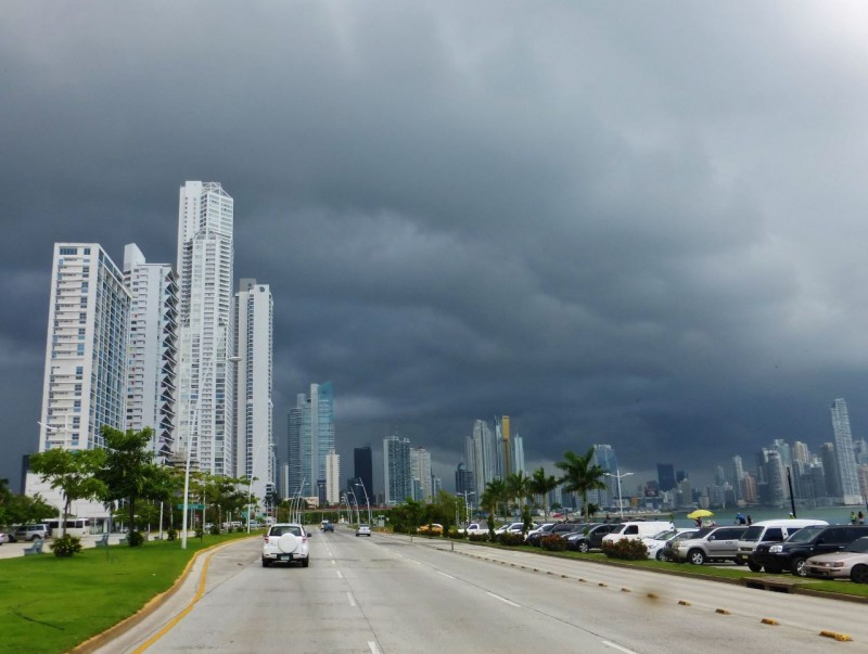 Entering the city was spectacular with the skyline black with an impending thunderstorm.  We were treated to these massive rain storms every day. Interesting facts (?) gleaned from a taxi driver:  The government of Panama took over complete control of the Canal in 1999.  Up until then the United States paid Panama $250,000 a year for the lease of the lands the Canal encompasses.  Of course we build the thing, protected it and ran the infrastructure but… today the country takes in $6 to $9 million a day in revenue from its use!  Even more interesting is that every high rise building that makes up the modern, spectacular skyline has been built in the last 14 years, most in the last five!