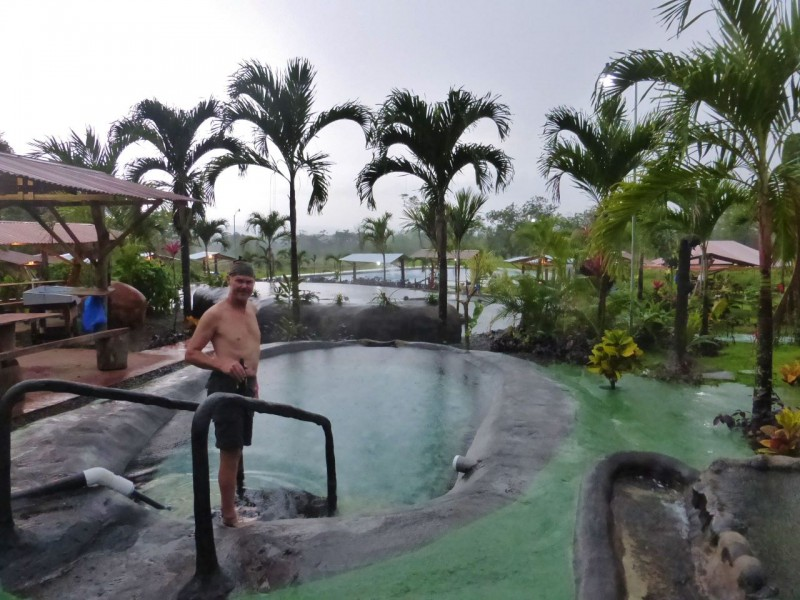 It was really cool to experience our first of many Costa Rica thunder storms sitting in these natural hot pools while a thunder and lightning storm raged and copious amounts of rain fell.