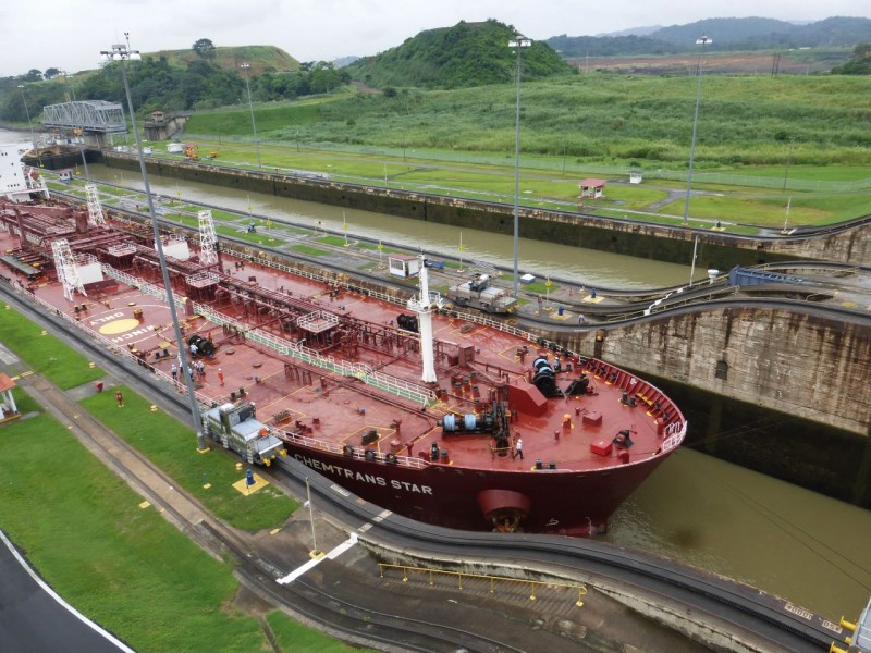 This was the next ship we watched arrive.  This one is using the nearside locks. Here you can see how modern ships just barely fit into the 1914 designed lock which is 110 feet wide.  There are just inches on each side of the boat.  If fact, much of modern cargo boat design is limited by the Panama Canal.