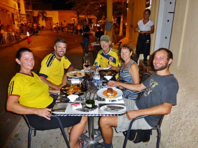 A few nights later, our Swiss friends, Simone, Michael and Michele caught up with us after their not-so-wonderful boat ride from Panama City.  It was great to see them again, and they were happy to be in Cartagena.  We had another great meal in our local church plaza.  (Note, everyone but Michele and me in Colombia fútbol jerseys!)