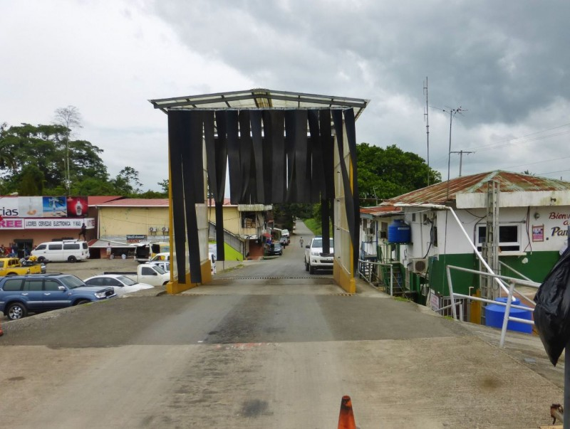 A welcoming view into Panama, the all important fumigation hut where all the bad juju from the neighboring country is magically cleansed away so you can pick up new, but not so bad juju, during the first five miles into the new country.