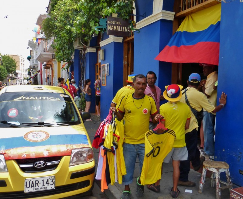 Interestingly, the FIFA World Cup (soccer) games, being held in Brazil, had just begun.  Cartagena was alive with fútbol fever, proudly flaunting (and selling) the yellow, red and blue colors of Colombia.