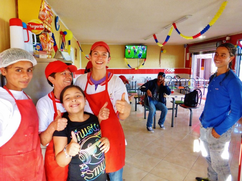 Down the road a couple of hours from Bogota, we pulled over at this chicken joint to watch the final game of the World Cup.  When Germany beat Argentina and won the overall honors, the staff and patrons all went nuts.  We found it odd that the Colombians were rooting for a European team rather than fellow South Americans???