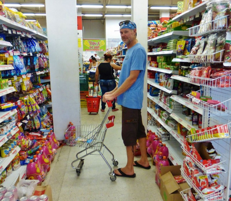 Our own filling station provided these huge carts to insure we bought lots of yummy packaged junk off their shelves.