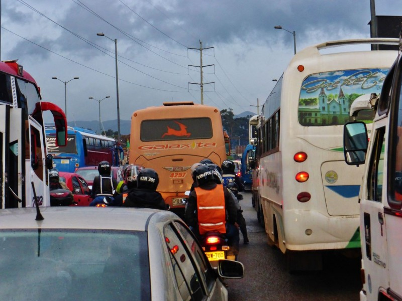 Rolling into Bogota after eight hours of crazy, mountain driving, we encountered Bogota gridlock.  We knew from our previous brief visit (see Cartagena blog) that traffic in this city barely moves any time of day.  But we hit downtown right at 5pm and were treated to the best of it.  There are no such things as traffic lanes.  It is just a free-for-all with the most aggressive drivers getting ahead.