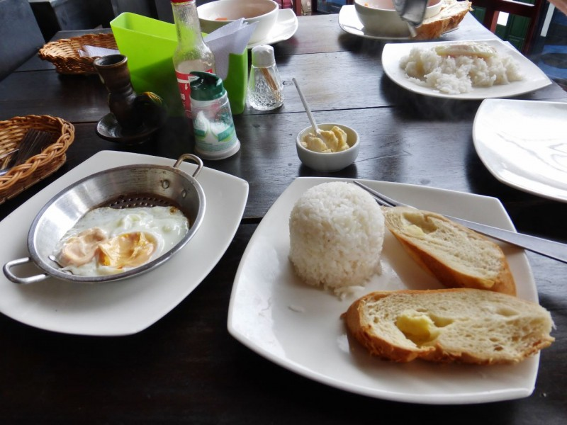 We were pretty much over Colombian breakfasts long before we were over Colombia.  Don't think one can kill an egg any more than this.  And the cold bread and rice ball didn't add anything to the mix.