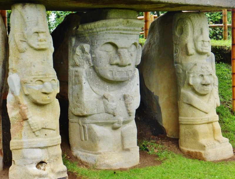 "The ""Stone Dudes.""  Outside of the town of San Agustín is the Parque Arqueológico which is the site of dozens of these mysterious stone carvings.  They date pre-Inca ranging from 3000BC to around 900AD.  No known history of these people exists, not even a name, as they did not have a written language.  The only thing they left behind were these spooky tomb guardians, carved in stone and buried with their dead."