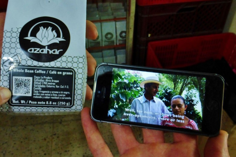 Every package of Azahar has a QR code on it.  Scan it with your smart phone and you can watch a video interview of the various Colombian farmers who grew the beans in the bag!