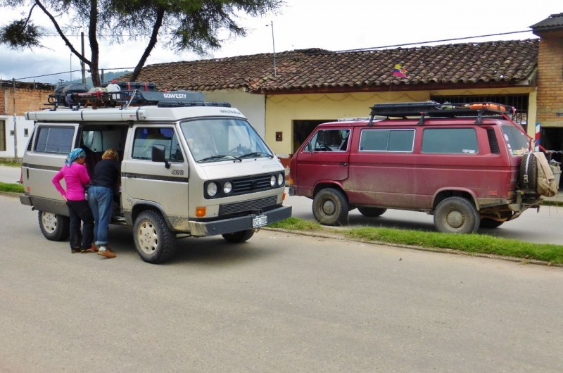 Charlotte finds a friend, and a GoWesty built one to boot!  Leaving San Agustín we passed this Syncro headed the other way.  We both waved and screeched to a halt to compare notes.  The owners, an Israeli couple, had come up from the south, having bought their VW from our friends at GoWesty in Los Osos, CA (see our first blog about Baja).  They then shipped the van from California to Argentina.  They were essentially doing our trip in reverse so we had much to share.  We ended up having lunch together comparing notes of what is to come for each of us.