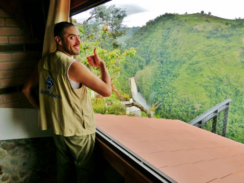 Co-owner Juan points out the waterfall from the best room in the house.