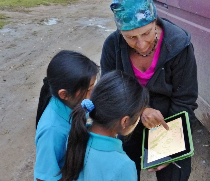 We explained with maps on our ipads where we were from and how we were traveling and living in our car.  They seemed to think that was pretty cool.  Their brave interaction with us inspired us to interact ourselves the next morning.  Thanks to these two little girls, Kat and I have found a new way to give back a bit during this trip…