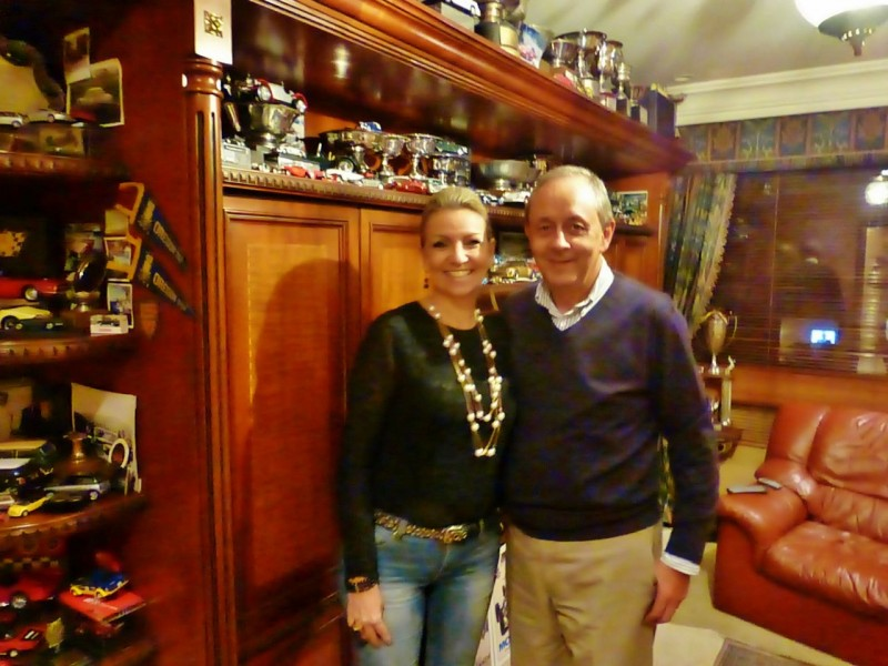 Our new best Colombian friends Honorato and Jeannette Espinosa in their beautiful home.  Honorato made quite a name for himself in his home country and in the States as a professional race car driver with a career that spanned three decades.  According to him, some of his best and favorite racing that he did in the States was in a car that I now own, a 1975 Porsche RSR.  We spent a wonderful afternoon at their home where Jeannette, the best of hostesses, made us an amazing dinner, and we all reminisced through Honorato's awesome scrapbooks of his racing days.