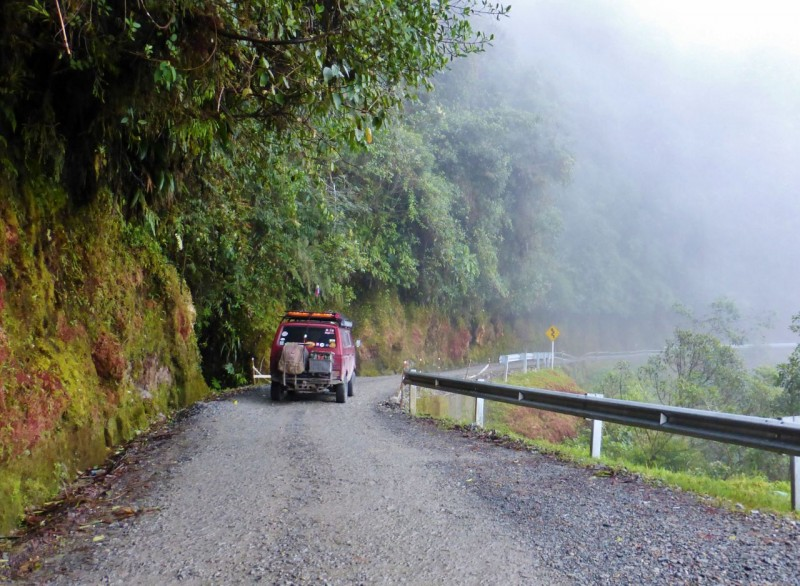 "After teaching school we headed south to Mocoa and then turned west to cross the Cordillera Central on the ""Trampoline of Death.""  After some of the cliff-hanging remote roads we've been over, the Trampoline didn't quite live up to its name.  We even drove the steepest first part at night for greater effect but… maybe it was the safety guardrail?"