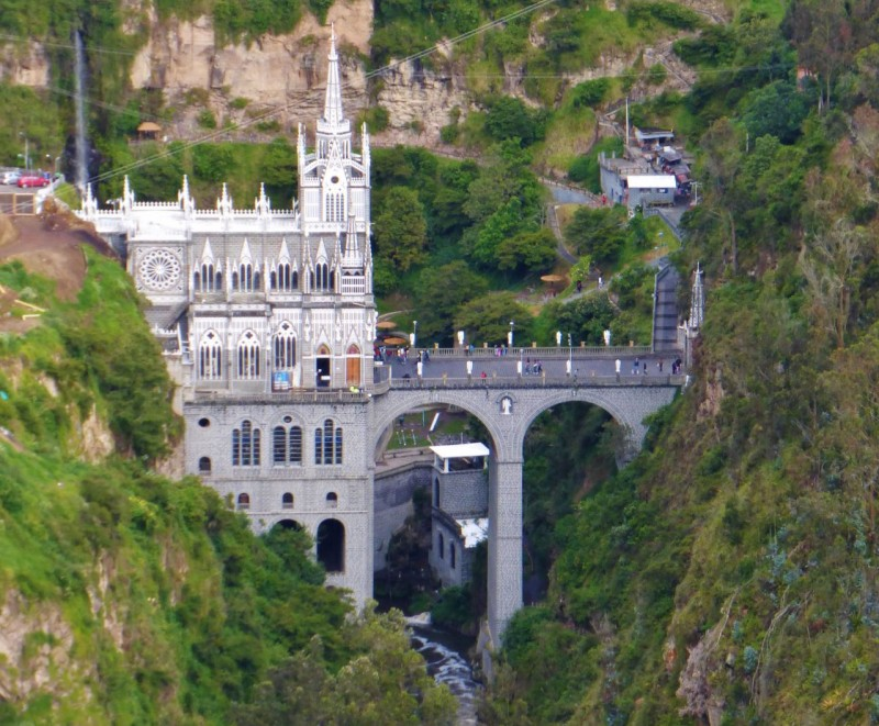Cathedral Las Lajas is just outside the seedy border town of Ipiales.  It affords an impressive sight, spanning a river gorge and looking like a medieval castle.  In reality, it was only built in 1949 so it's got a ways to go to antiquity.