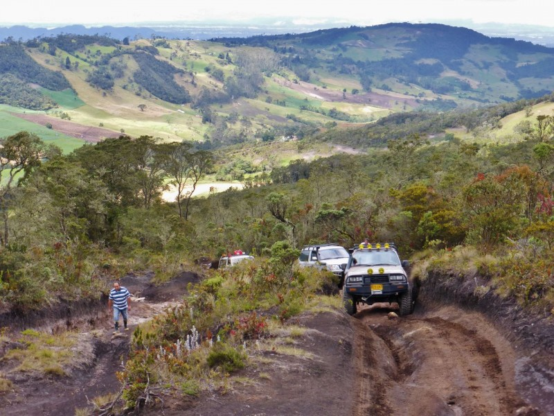 We drove about an hour west out of the city to the Tablazo Trail outside the little town of Subachoque. The trail was short, maybe two kilometers long, but offered plenty of excitement with steep climbs and deep ruts.  It definitely wasn't Charlotte country!  The views at the top, the table, (Tablazo) were amazing in every direction.  The clouds parted long enough to see a particular village below.  One guy told us it was the first time he'd seen that town in ten years of driving the trail, due to it always being cloudy at this altitude (about 11,000 feet).
