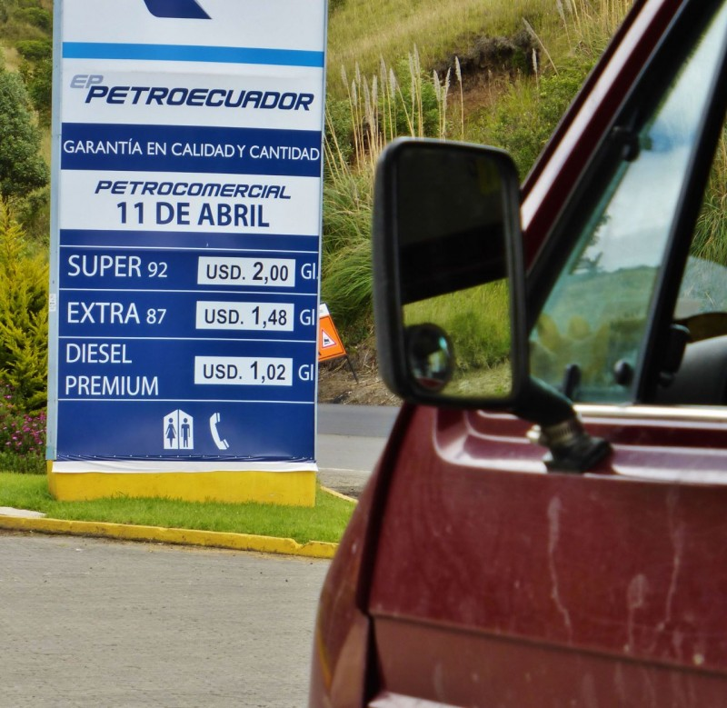 Our first delightful surprise was the price of gas!  Please note that Ecuador uses, as its national currency, the US dollar.  Yippeee!  Haven't seen these prices since we were youngsters.