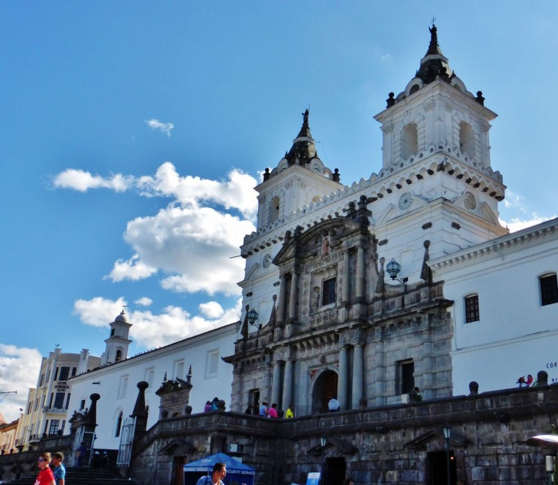 Quito has more than its share of gorgeous churches, cathedrals and basilicas.  This one, the  Basilica de San Francisco was built in the 1500's.