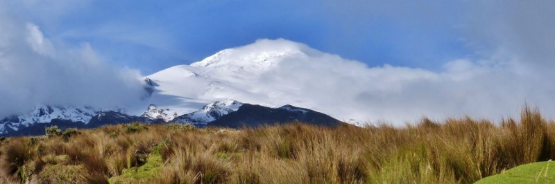 Our first visit was to Volcán Cayambe.  At 18,996 ft., it is the highest point in the world crossed by the Equator and the only point on the Equator with snow cover.