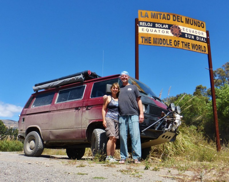 Several hours south of the border, it suddenly occurred to us that we were about to cross the Equator.  Oh yeah, this is Ecuador!  We screeched to a halt at this monument to memorialize the moment.  We had driven all the way to the southern hemisphere, over 13,000 miles!
