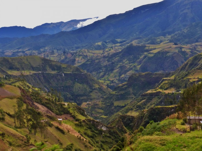 The beautiful way we took back to the PanAm was dirt and offered more spectacular views of huge river canyons and patchwork crops.  Our next stop was Baños, a resort town where we could clean up and get some blogging done.