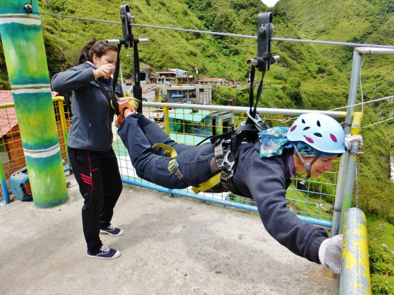 Baños, being a touristy town, was where we finally succumbed to zip-line fever (having forsaken the opportunity in normal places like Costa Rica).
