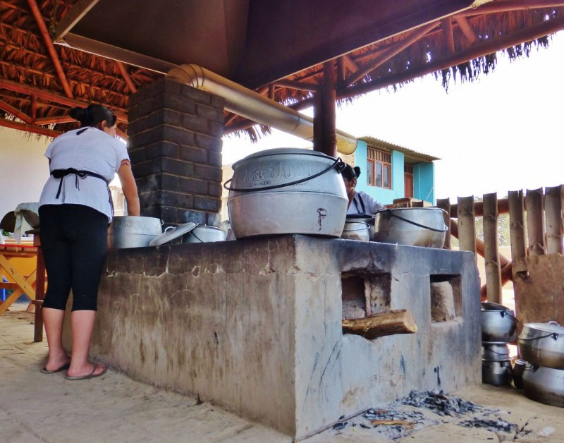 At one point we were starving so we stopped for a local meal at this open-air restaurant.  Whatever they were cooking was bubbling away in huge pots, heated by a wood fire below.