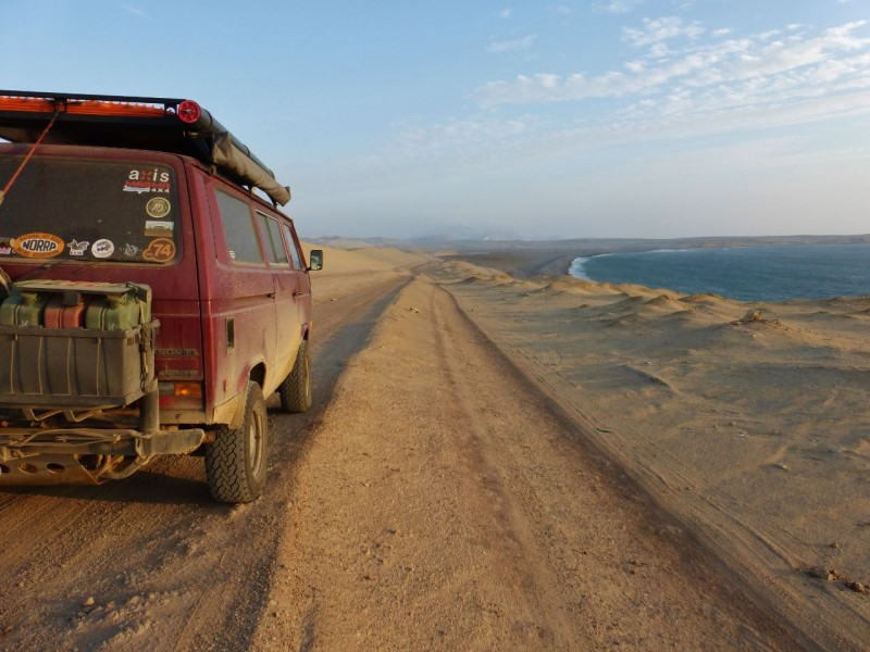The pavement stops shortly after entering the Reserva Nacional de Paracas.  At first we followed this well traveled track along the coast, marveling at the endless views.