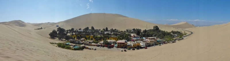 Eventually we drove far enough eastward and ran into the main highway again, just north if the small city of Ica.  We restocked the fridge and drove out to the oasis of Huacachina, a tourist trap nestled in the middle of giant sand dunes with a scummy pond as a focal point in the center of it.  We pretty much took the picture and left.