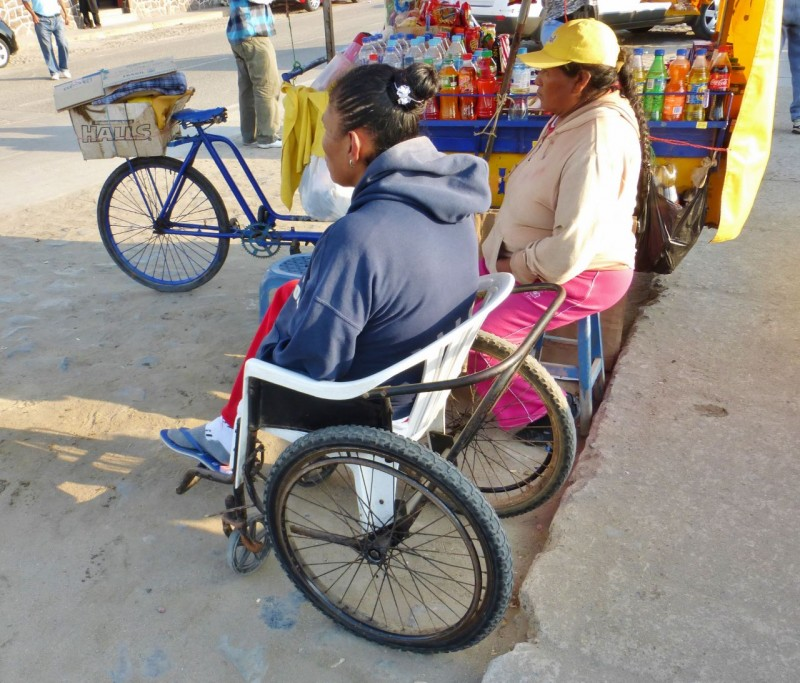 This was cool.  We spotted this very well worn Free Wheelchair Mission wheelchair and its owner parked along the street in Huanchaco.  Kat and I have been big supporters of this organization, even traveling to El Salvador a few years ago to deliver the chairs.  You can find more info on this charity elsewhere on our web site.  I couldn't get a face shot of this woman as she hid in shame when I tried, and mentioning FWM resulted in blank stares.  No matter, the point is she was out in the world, experiencing life, instead of shut away and forgotten in a dark corner somewhere, all because of a $78 wheelchair given to her thanks to some anonymous donor.