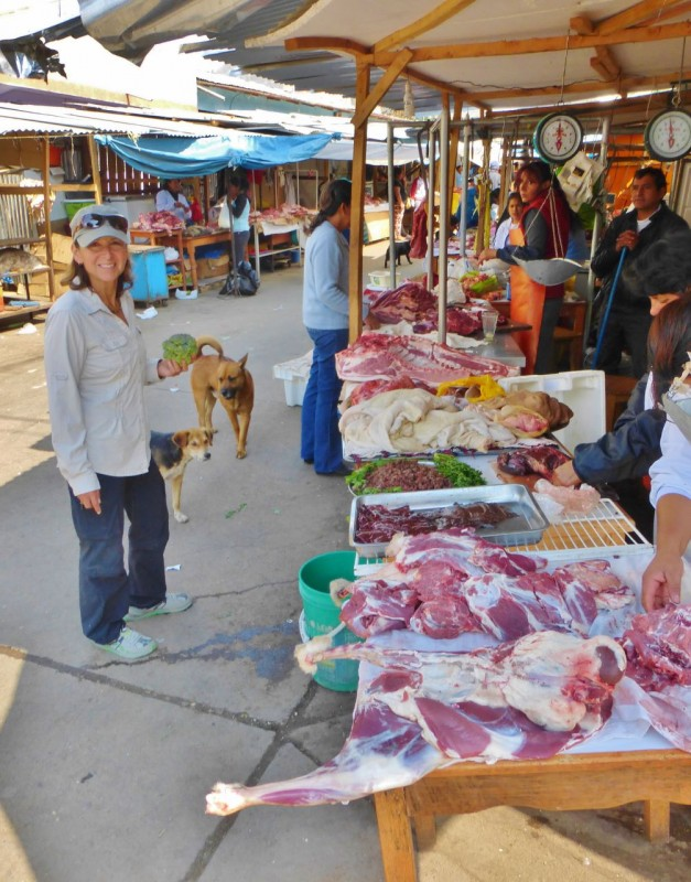 Competing with the dogs for the choicest cuts in the Abancay meat market.