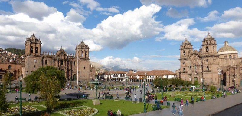 The beautiful Plaza de Armas in downtown Cusco.